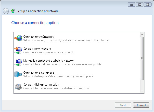 Windows 7 Manual Connection