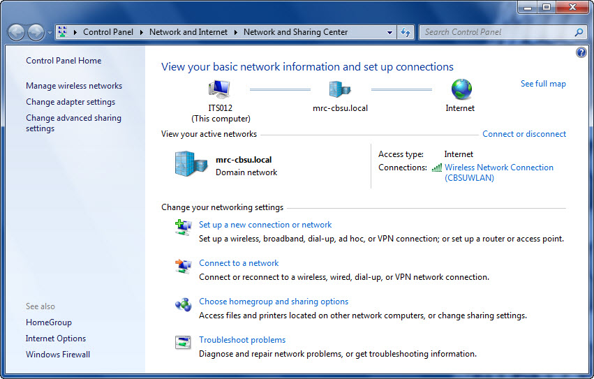 Windows 7 Network Sharing Centre