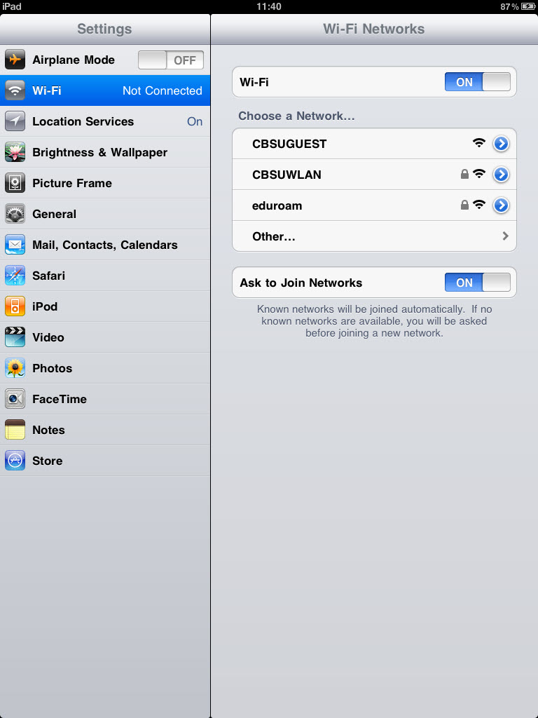 Image Result For Ipad Wi Fi Settings